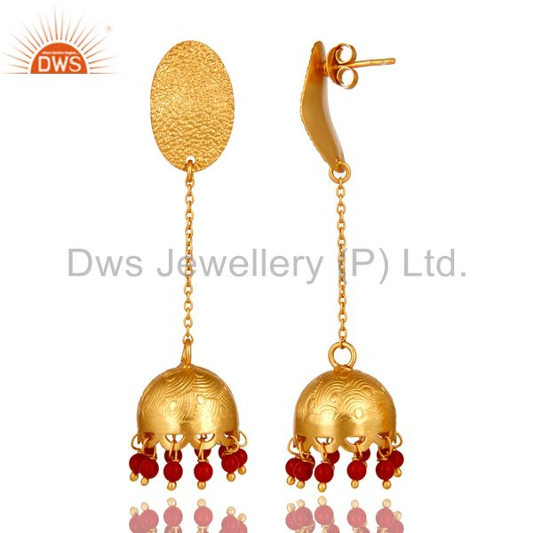 Exporter 24k Gold Plated 925 Sterling Silver Traditional Coral Gemstone Jhumka Earrings