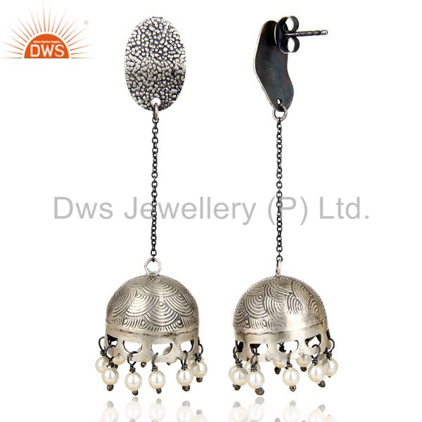 Exporter Black Oxidized 925 Sterling Silver Traditional Pearl Gemstone Jhumka Earrings