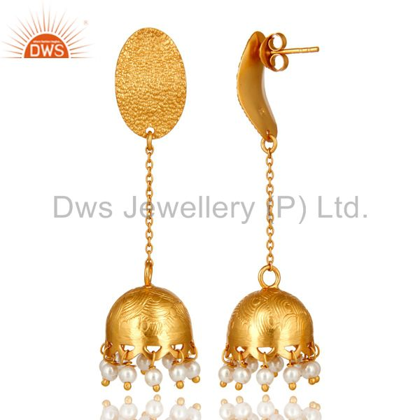 Exporter 24k Gold Plated 925 Sterling Silver Traditional Pearl Gemstone Jhumka Earrings
