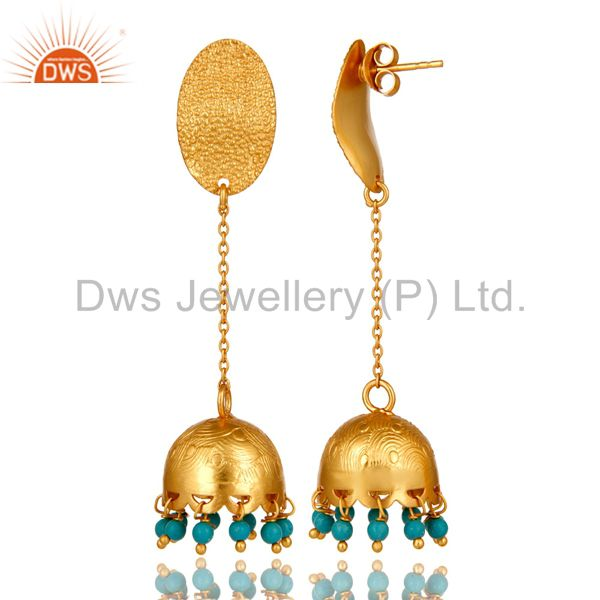 Exporter Natural Turquoise Gemstone 18K Gold Plated 925 Sterling Silver Designer Earrings