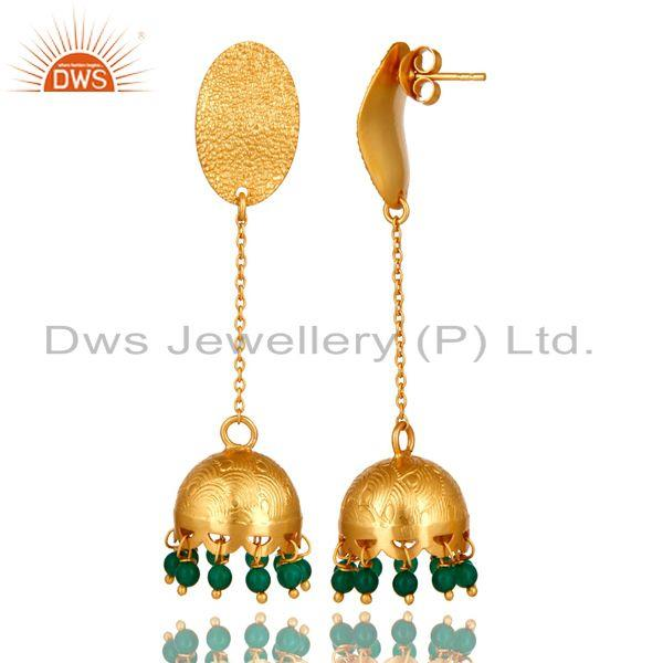 Exporter Emerald Green Onyx 925 Sterling Silver Yellow Gold Plated Handmade Art Earrings