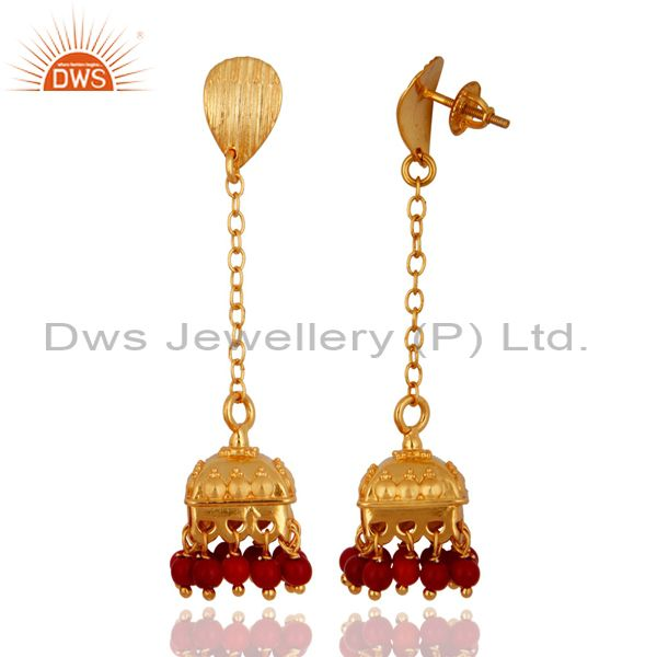 Exporter Gold Plated Sterling Silver Coral Bollywood Indian Style Drop Bridal Earrings