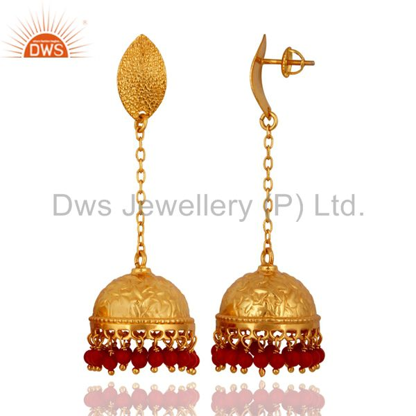 Exporter New Beautiful Indian Bollywood Style Sterling Silver Red Coral Gemstone Earrings