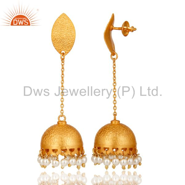 Exporter 22k Gold Over 925 Sterling Silver Natural Pearl Indian Bridal Dangle Earrings