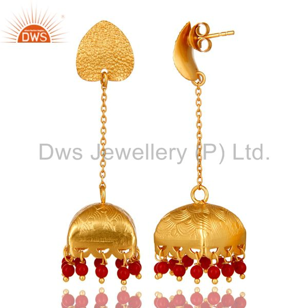 Exporter 18K Gold Plated 925 Sterling Silver Red Coral Traditional Fashion Jhumka Earring