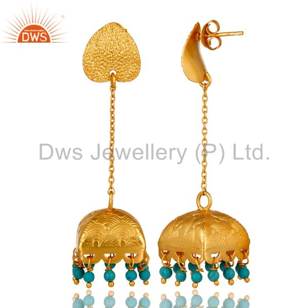 Exporter 18K Gold Plated Natural Turquoise Gemstone 925 Sterling Silver Chunky Earring