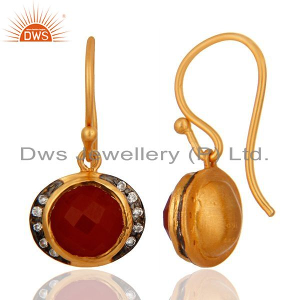 Exporter 18K Yellow Gold Plated Sterling Silver Red Onyx Gemstone Drop Earrings With CZ