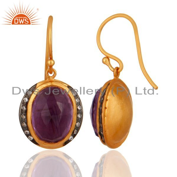 Exporter 925 Sterling Silver Natural Amethyst Gemstone Dangle Earring With Gold Plated