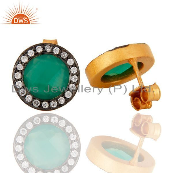 Exporter 18K Yellow Gold Plated Sterling Silver Green Onyx Gemstone Stud Earrings With CZ