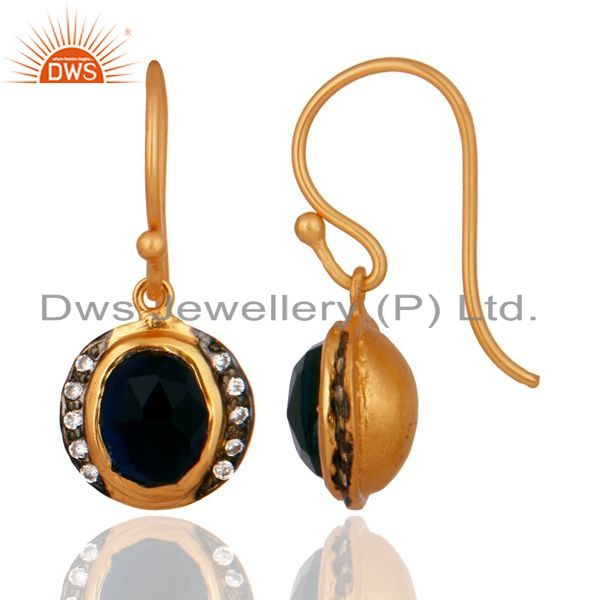 Exporter 18K Yellow Gold Plated Sterling Silver Blue Corundum And CZ Hook Earrings