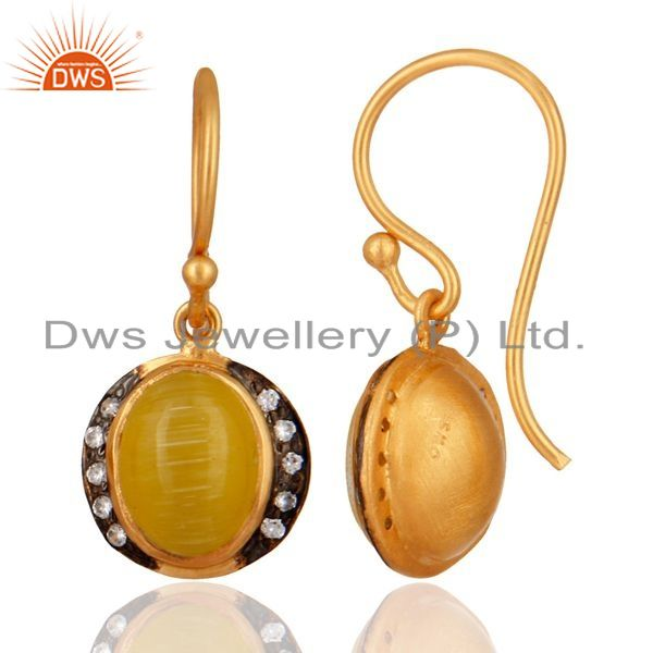 Exporter 18-Karat Yellow Gold Plated 925 Sterling Silver Moonstone Gemstone Drop Earring