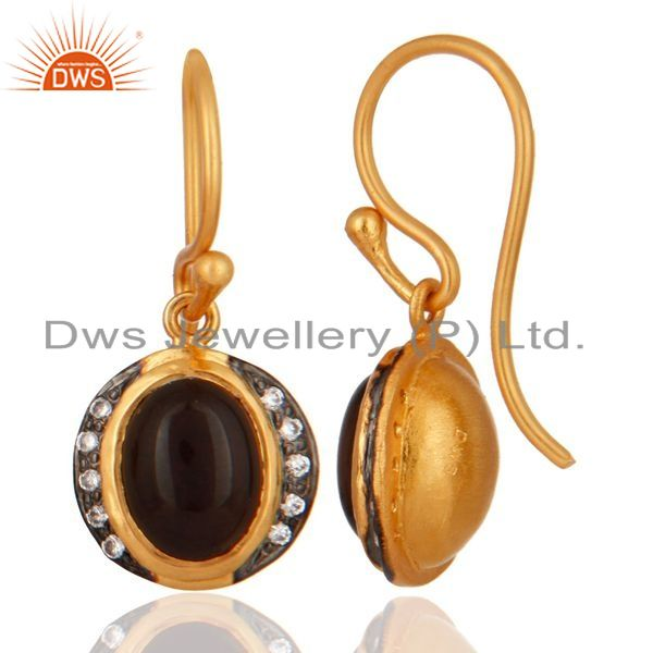 Exporter 18ct Gold Plated Plated on Sterling Silver With Smoky Quartz Gemstone Earrings