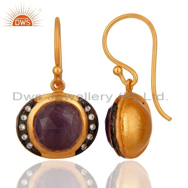 Exporter Handmade Natural Amethyst Gemstone 925 Sterling Silver Gold Plated Earrings