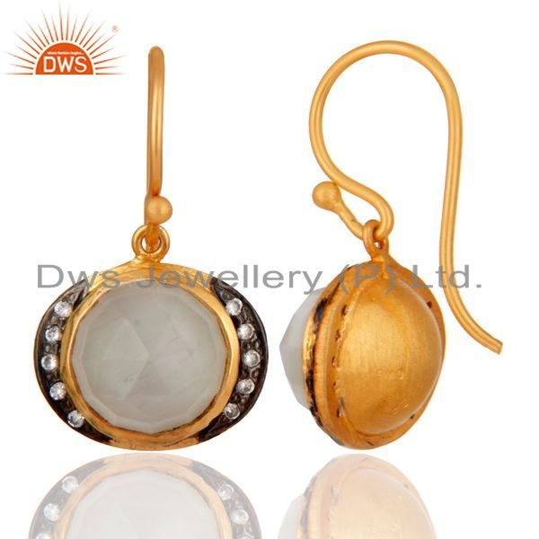 Exporter Handmade Natural Moonstone 18K Yellow Gold Over 925 Sterling Silver Hook Earring