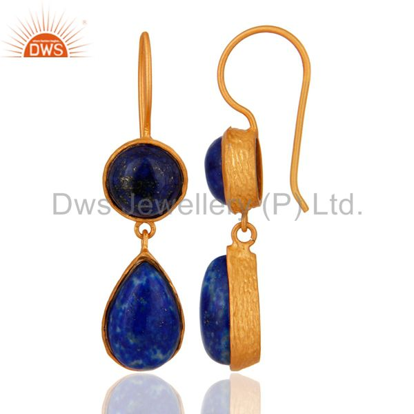 Exporter Handmade Lapis Lazuli GGemstone 925 Sterling Silver 18K Gold Plated Drop Earring