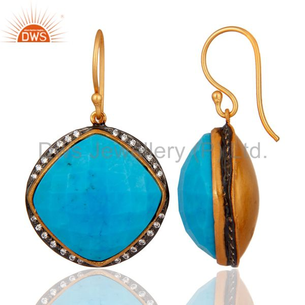 Exporter 925 Sterling Silver Turquoise Gemstone Earring With White Zircon Plated Jewelry