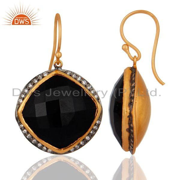 Exporter Handmade Black Onyx Gemstone Earring Made In 24k Gold Over 925 Sterling Silver