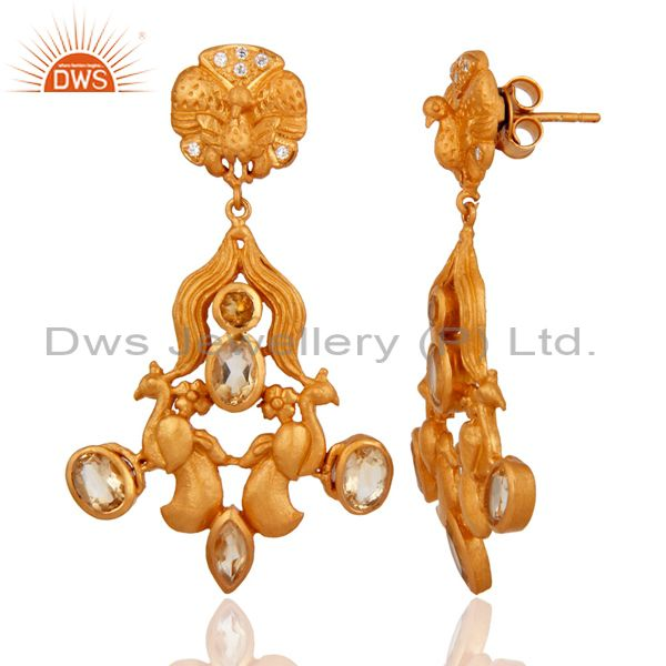 Exporter Handmade 925 Sterling Silver Citrine Gemstone Designer Earrings 18k Gold Plated