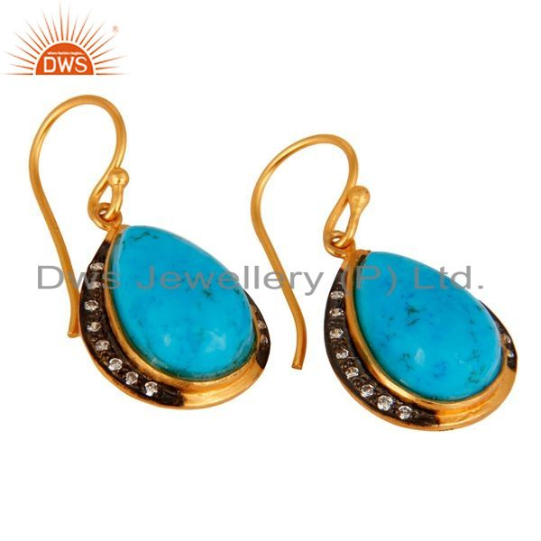 Exporter 18K Yellow Gold Plated 925 Sterling Silver Turquoise Gemstone Teardrop Earrings