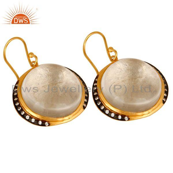 Exporter 18K Yellow Gold Plated Sterling Silver Crystal Quartz Dangle Earrings For Womens