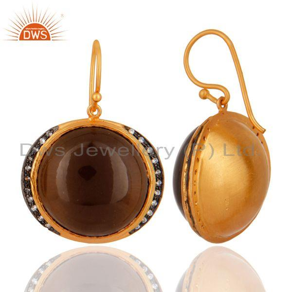 Exporter Natural Smoky Quartz Gemstone Gold Plated 925 Sterling Silver Hook Earrings