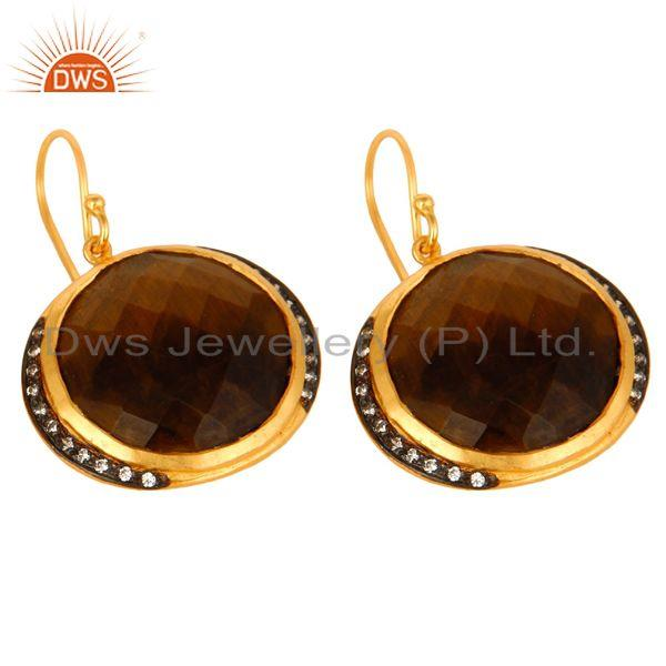 Exporter 18K Yellow Gold Plated Sterling Silver Tiger Eye Gemstone Hook Earrings With CZ