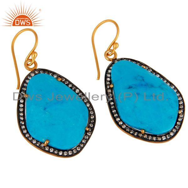 Exporter Handmade Turquoise Gemstone Earrings Made in 18K Gold On Sterling Silver Jewelry