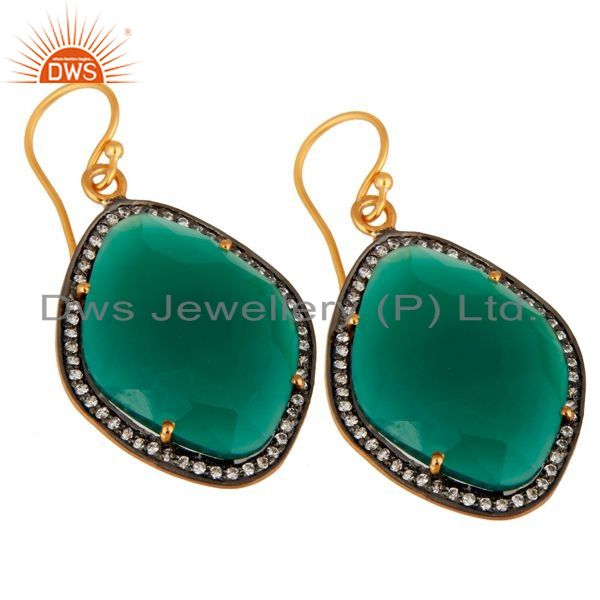 Exporter 18K Gold Over Sterling Silver Green Onyx Gemstone & Pave White Zircon Earring