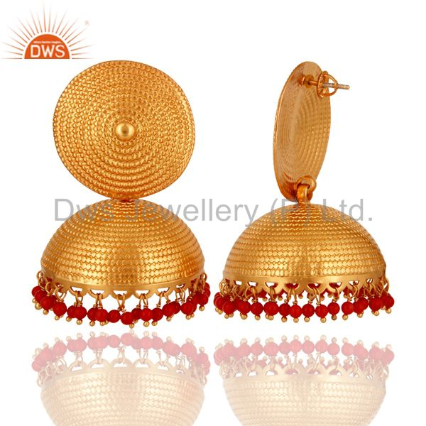 Exporter Designer 18K Gold On Sterling Silver Red Coral Gemstone Jhumka Maharaja Earrings