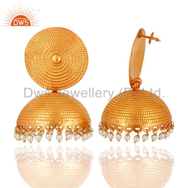 Exporter Genuine Pearl 925 Sterling Silver With Gold Plated Matte Finish Jhumka Earrings