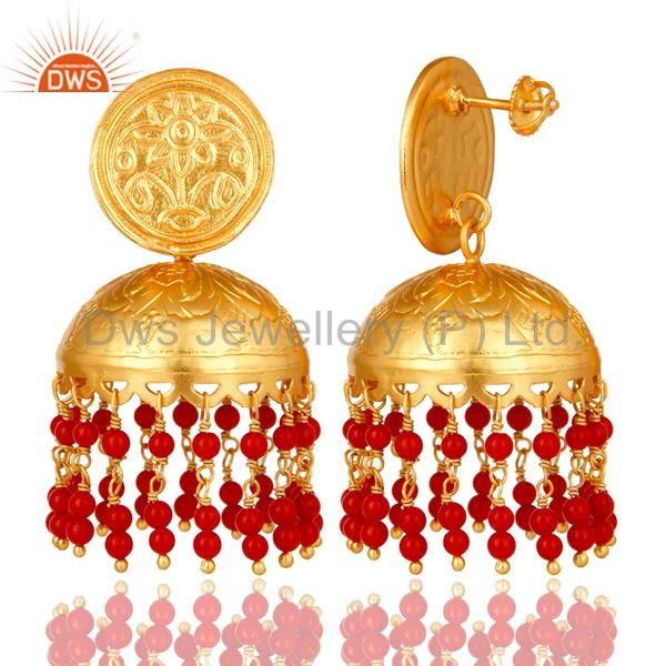Exporter Handcrafted 22K Gold Over 925 Sterling Silver Red Coral Jhumka Earring For Girls