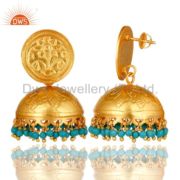 Exporter Ethnic Designer Sterling Silver Turquoise Dome Shaped Jhumka Chandelier Earrings