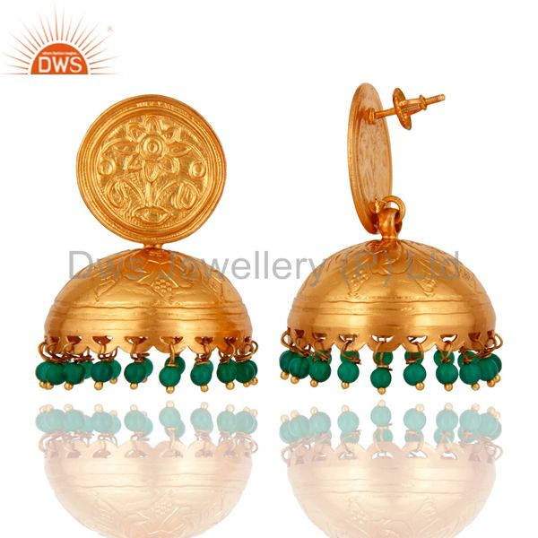 Exporter 18K Gold Over 925 Sterling Silver Handmade Green Onyx Gemstone Earring