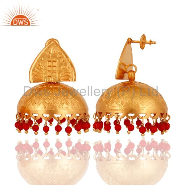 Exporter 925 Sterling Silver Red Coral Beads Gold Plated Bridal Fashion Jhumka Earrings
