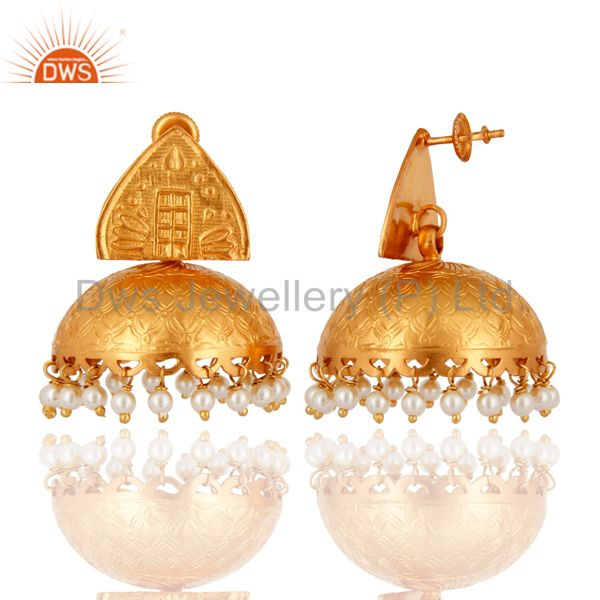 Exporter 18K Gold Plated 925 Sterling Silver Indian Ethnic Natural Pearl Jhumka Earrings
