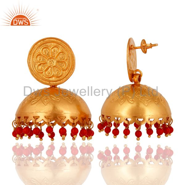 Exporter Red Coral Gemstone Stunning Gold Plated Sterling Silver Ethnic Jhumka Earrings