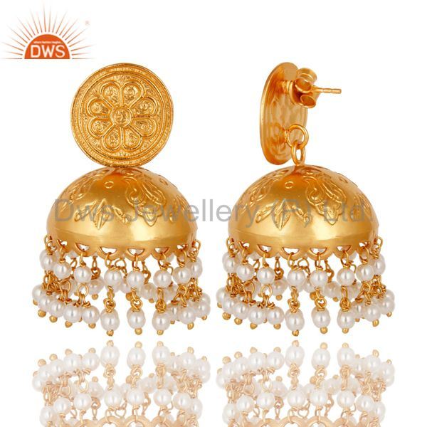 Exporter 18K Yellow Gold Plated Sterling Silver Pearl Bridal Fashion Jhumka Earrings
