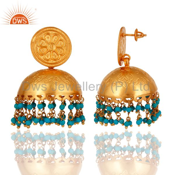Exporter 18K Gold Overlay 925 Sterling Silver Beautiful Rajwada Earring With Turquoise