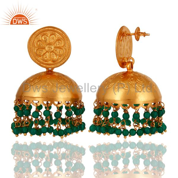 Exporter 18K Yellow Gold Plated Sterling Silver Green Onyx Traditional Jhumka Earrings