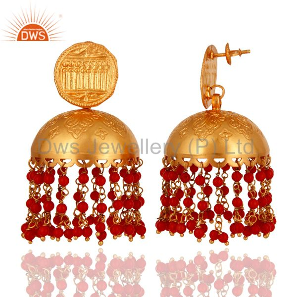 Exporter Beautiful Hand Crafted 18K Gold On 925 Silver Red Coral Gemstone Jhumkas Earring