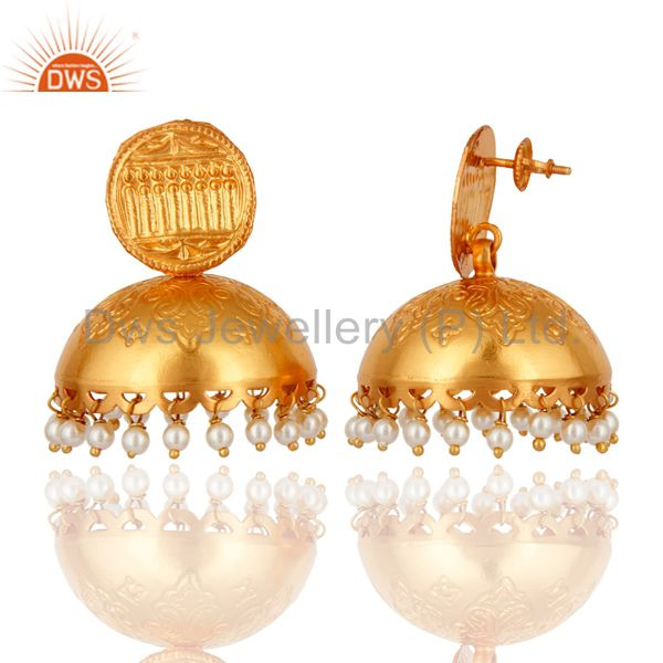 Exporter Designer 925 Sterling Silver 18K Gold Plated Jhumkas Fashion Earring With Pearl
