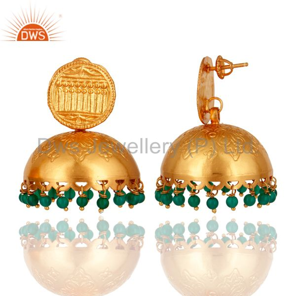Exporter Natural Green Onyx Gold Plated 925 Sterling Silver Jhumka Earrings