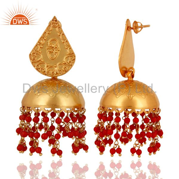 Exporter 18K Gold Plated 925 Sterling Silver Jaipur Jhumkas Earrings With Red Coral