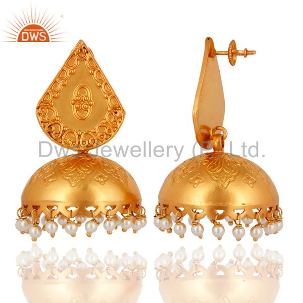 Exporter Indian Artisan Handmade 925 Sterling Silver Natural Pearl Gold Plated Earrings