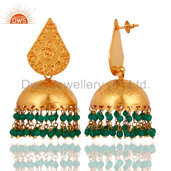 Exporter Indian 18K Gold Plated 925 Sterling Silver Green Onyx Beads Jhumkas Earrings