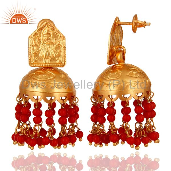 Exporter 18K Gold Over 925 Sterling Silver Red Coral Gemtone Traditional Design Earring