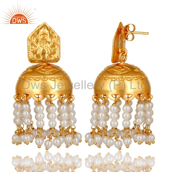 Exporter 18K Gold Plated 925 Sterling Silver Pearl Bead Beautiful Designer Jhumka Earring
