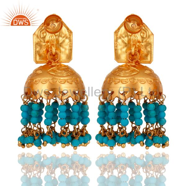Exporter Turquoise 925 Silver Gold Plated Traditional South Indian Fashion Jhumki Earring