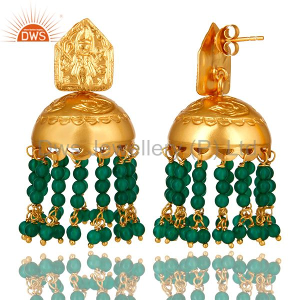 Exporter Handmade 22K Gold Over 925 Silver Green Onyx Gemstone Beads Chandelier Earrings