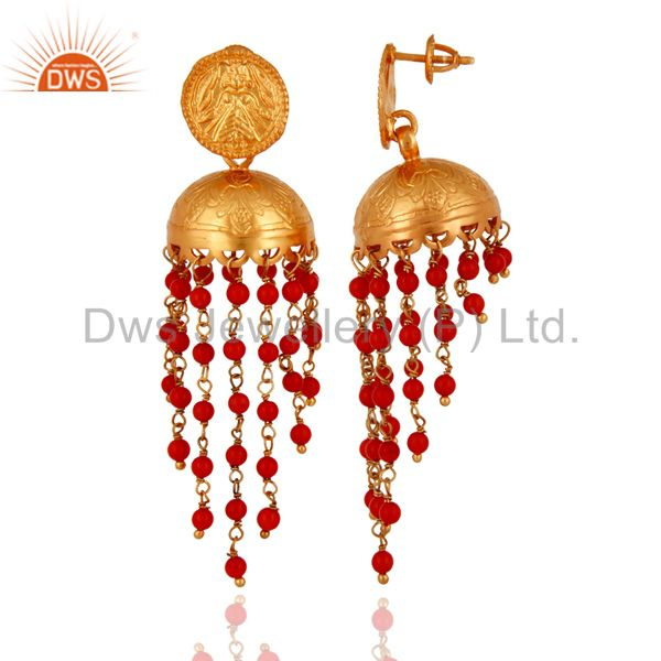 Exporter 22K Gold Plated 925 Sterling Silver Red Coral Gemstone Designer Jhumka Earrings